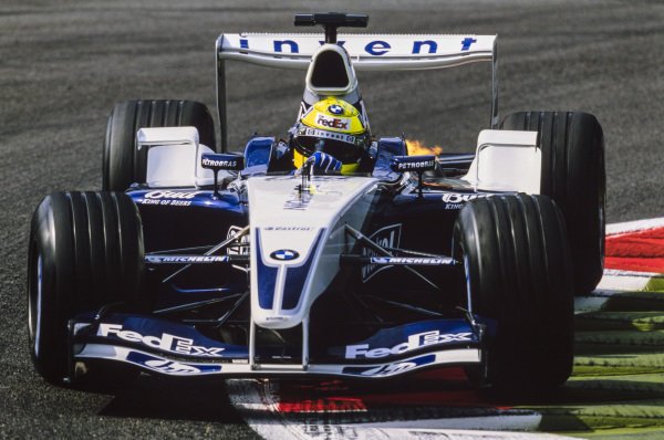 Ralf Schumacher, Williams FW25 BMW. Flames are at the rear of the car.