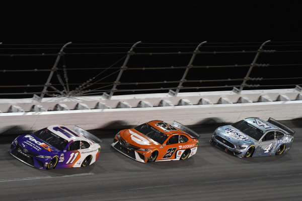 #11: Denny Hamlin, Joe Gibbs Racing, Toyota Camry, #23: Bubba Wallace, 23XI Racing, Toyota Camry, #4: Kevin Harvick, Stewart-Haas Racing, Ford Mustang Busch Light #TheCrew