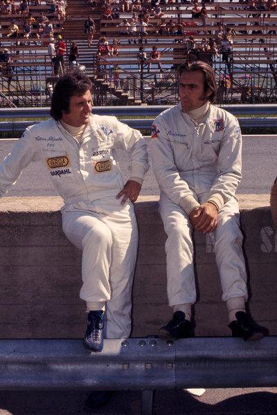 1972 Austrian Grand Prix.Osterreichring, Zeltweg, Austria.11-13 August 1972.Wilson Fittipaldi with team mate Carlos Reutemann (Both Brabham Ford).Ref-72 AUT 46.World Copyright - LAT Photographic