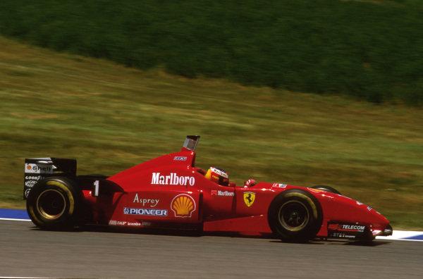 Catalunya, Barcelona, Spain.31/5-2/6 1996.Michael Schumacher (Ferrari F310) 1st position.Ref-96 ESP 13.World Copyright - LAT Photographic