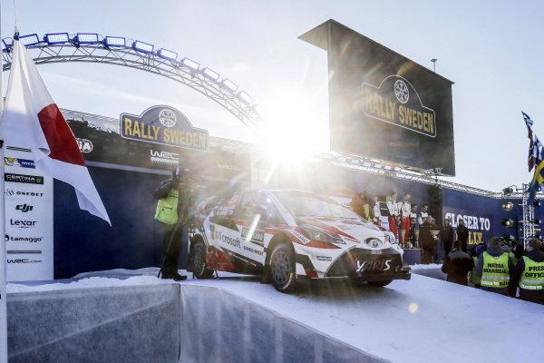 Rally winners Jari-Matti Latvala (FIN) / Miikka Anttila (FIN), Toyota Gazoo Racing Toyota Yaris WRC on the podium at World Rally Championship, Rd2, Rally Sweden, Day Three, Karlstad, Sweden, 12 February 2017.