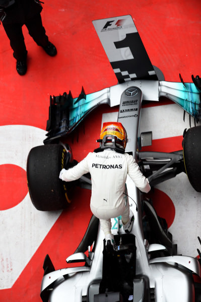 Race winner Lewis Hamilton (GBR) Mercedes AMG F1 celebrates in parc ferme at Formula One World Championship, Rd2, Chinese Grand Prix, Race, Shanghai, China, Sunday 9 April 2017.