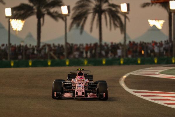 Esteban Ocon (FRA) Force India VJM10 at Formula One World Championship, Rd20, Abu Dhabi Grand Prix, Race, Yas Marina Circuit, Abu Dhabi, UAE, Sunday 26 November 2017.