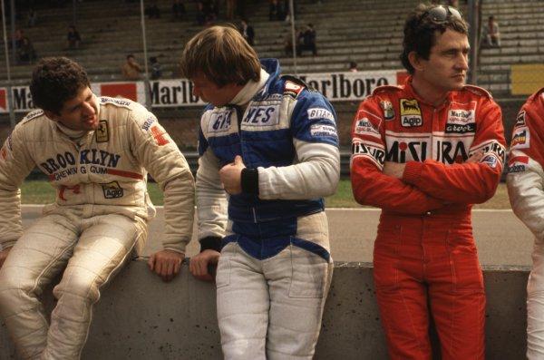 1980 Formula 1 World Championship.Left to right: Jody Scheckter (Ferrari), Didier Pironi (Ligier-Ford Cosworth) and Patrick Depailler (Alfa Romeo).Ref-D2A 09.World - LAT Photographic