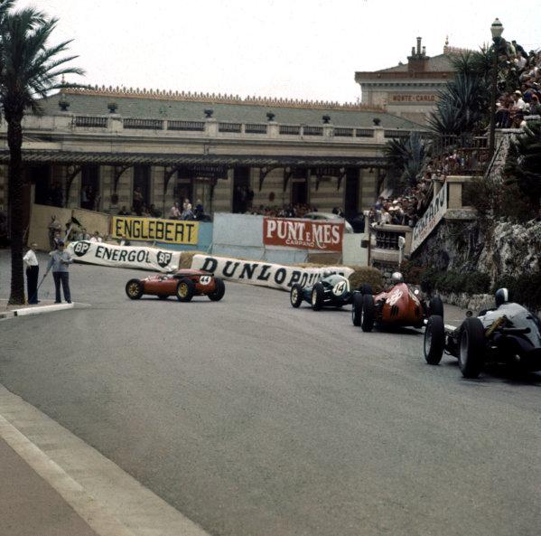 1960 Monaco Grand Prix.Monte Carlo, Monaco.26-29 May 1960.Maurice Trintignant (Cooper T51 Maserati) leads Roy Salvadori (Cooper T51 Climax) and Wolfgang von Trips (Ferrari Dino 246) into Station Hairpin.Ref-3/0179.World Copyright - LAT Photographic