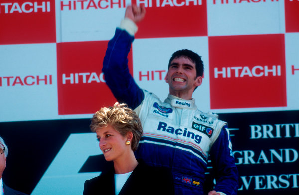 1994 British Grand Prix. Silverstone, England. 8-10 July 1994. Damon Hill (Williams Renault) 1st position on the podium. HRH the Princess of Wales stands in front. Ref-94 GB 02. World Copyright - LAT Photographic