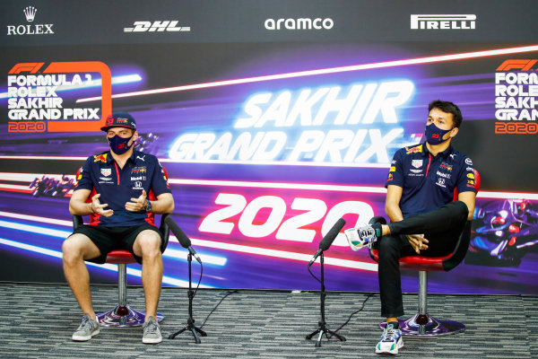 Max Verstappen, Red Bull Racing, and Alexander Albon, Red Bull Racing, in the Press Conference