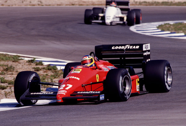 1988 Spanish Grand Prix.Jerez, Spain.30/9-2/10 1988.Michele Alboreto (Ferrari F187/88C).Ref-88 ESP 28.World Copyright - LAT Photographic