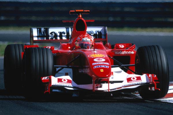 2004 Hungarian Grand Prix Hungaroring, Hungary. 13th - 15th August. Michael Schumacher, Ferrari F2004. Action. World Copyright:Charles Coates/LAT Photographic Ref:35mm Image:A08