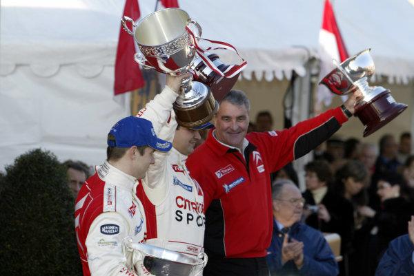 2004 FIA World Rally Champs. Round one, Monte Carlo Rally.22nd-25th January 2004.Sebastien Loeb, Citroen, podium.World Copyright: McKlein/LAT