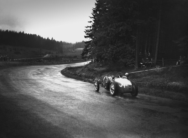 Nurburgring, Germany. 19th July 1931. Marcel Lehoux (Bugatti T51), retired, action.  World Copyright: LAT Photographic. Ref:  Autocar Glass Plate B6820