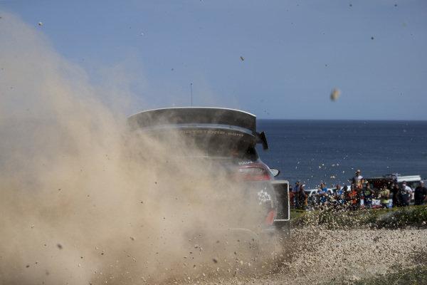 Elfyn Evans kicks up the stones on Rally d'Italia Sardinia