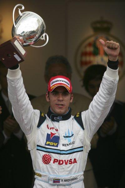 2007 GP2 Series. Round 3. Saturday Race.Monte-Carlo, Monaco. 26th May 2007.Pastor Maldonado (VEN, Trident Racing) celebrates his first GP2 Series victory. World Copyright: Andrew Ferraro/GP2 Series Media Service ref: Digital ImageZP9O1127