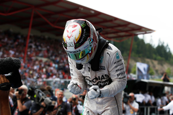 Spa-Francorchamps, Spa, Belgium. Sunday 23 August 2015. Lewis Hamilton, Mercedes AMG, 1st Position, celebrates in Parc Ferme. World Copyright: Steven Tee/LAT Photographic ref: Digital Image _L4R2460