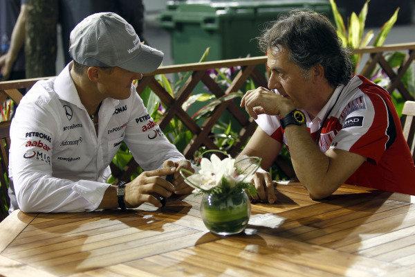 Marina Bay Circuit, Singapore.23rd September 2010.Michael Schumacher, Mercedes GP W01. Portrait. World Copyright: Andrew Ferraro/LAT Photographicref: Digital Image _Q0C2906
