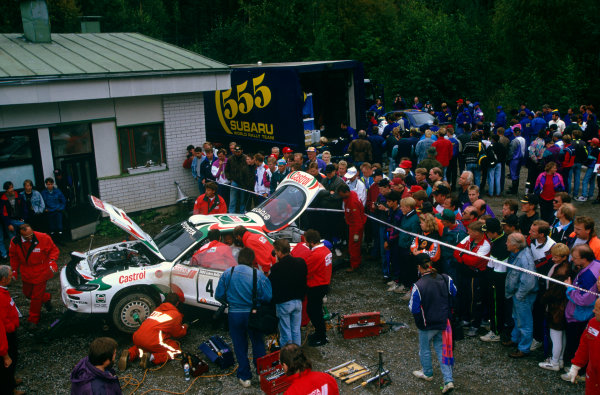 1000 Lakes Rally, Finland. 27th - 29th August 1993.Juha Kankkunen/Denis Giraudet (Toyota Celica Turbo 4WD), 1st position, service, action.World Copyright: LAT Photographic.Ref: Colour Transparency.
