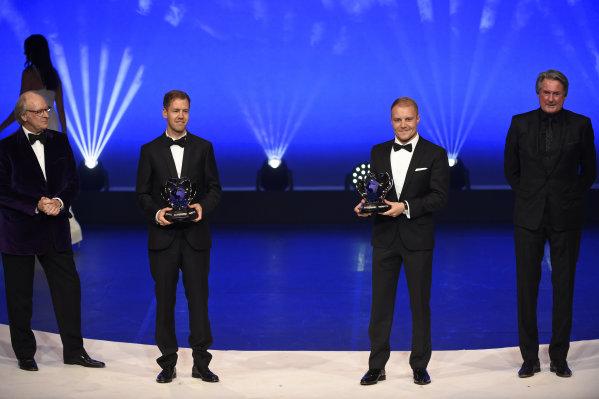FIA Prize Giving Versailles, France. December 8, 2017. Sebastian Vettel with Valterri Bottas during the FIA Prize Giving at Versailles. World Copyright: Jean Marie Hervio / DPPI / FIA Image ref: Digital image auto---fia-prize-giving---versailles-2017_38932392231_o