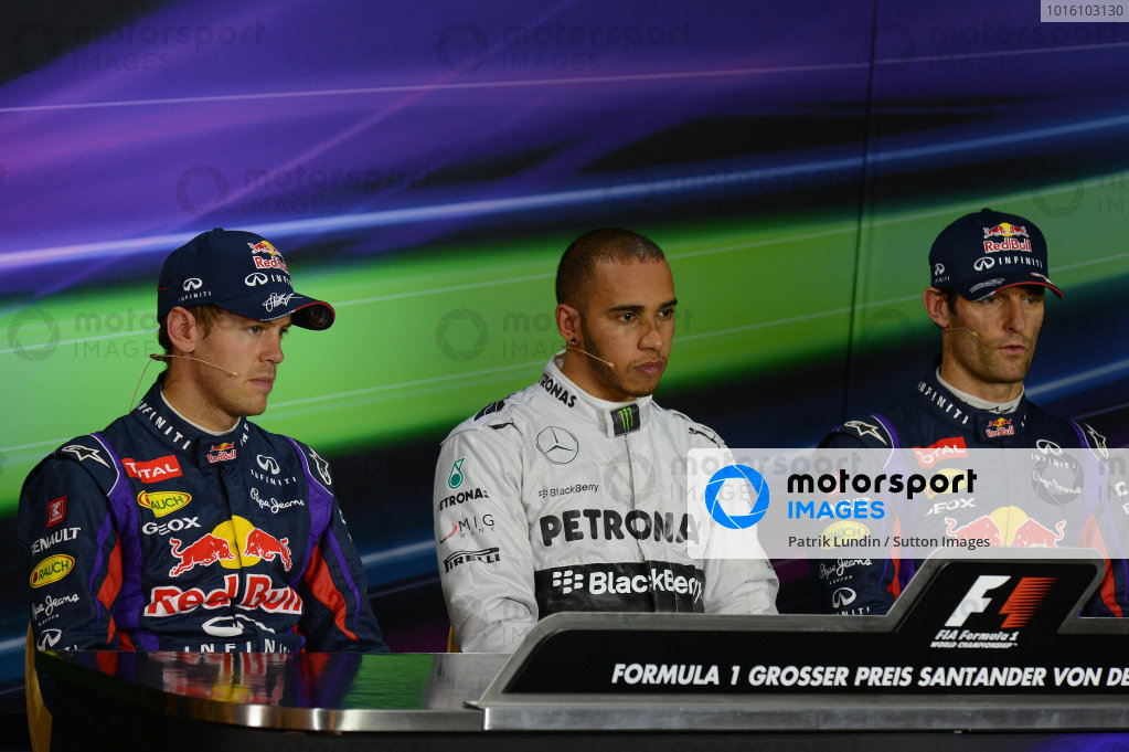 Lewis Hamilton (GBR) Mercedes AMG F1, pole position, centre, Sebastian Vettel (GER) Red Bull Racing, second, left, Mark Webber (AUS) Red Bull Racing, third, right, in the Press Conference. Formula One World Championship, Rd9, German Grand Prix, Qualifying, Nurburgring, Germany, Saturday 6 July 2013.