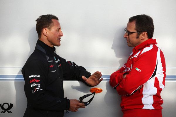 (L to R): Michael Schumacher (GER) Mercedes GP with Stefano Domenicali (ITA) Ferrari General Director. Formula One World Championship, Rd 4, Turkish Grand Prix, Qualifying Day, Istanbul Park, Turkey, Saturday 7 May 2011.