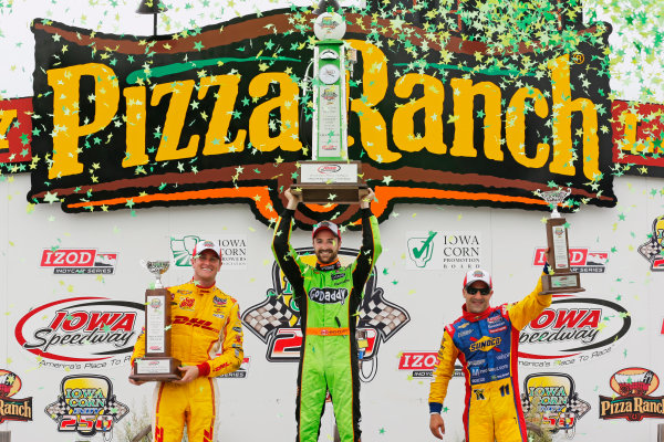 22-23 June, 2013,Newton, Iowa, USA James Hinchcliffe, Ryan Hunter-Reay and Tony Kanaan celebrate in victory lane .(c) 2013, Perry Nelson LAT Photo USA