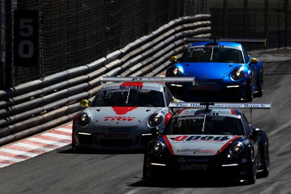 Monte Carlo, Monaco 26th May 2013 Jeroen Bleekemolen, #4 Lechner Racing, leads Christian Engelhart, #25 Fach Auto Tech, and Kevin Estre, #1 Attempto Racing.  World Copyright: Charles Coates/LAT Photographic ref: Digital Image _X5J4253