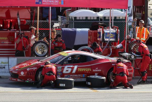 18-20 April, 2013, Braselton, Georgia USA The #61 Ferrari of Jeff Segal and Max Papis makes a pit stop. ©2013, R D. Ethan LAT Photo USA