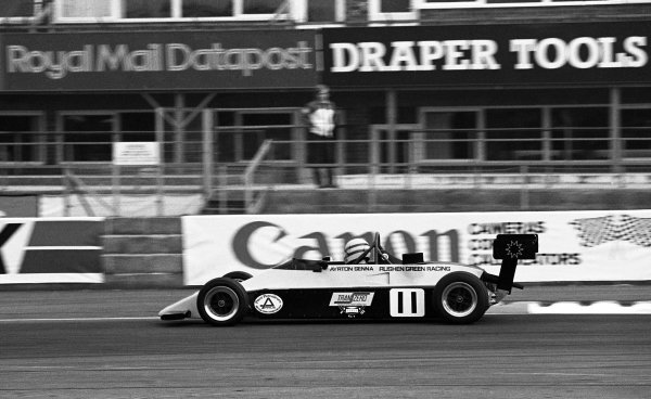 Race winner Ayrton Senna (BRA) Rushen Green Racing Van Diemen RF82. British Formula Ford 2000 Championship, 28 March, Silverstone, England, 1982.