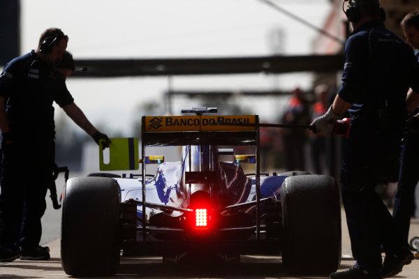 Circuit de Catalunya, Barcelona, Spain Monday 22 February 2016. Marcus Ericsson, Sauber C35 Ferrari, in the pit lane. World Copyright: Sam Bloxham/LAT Photographic ref: Digital Image _SBL4682