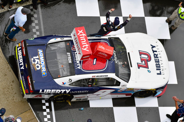 NASCAR XFINITY Series Lilly Diabetes 250 Indianapolis Motor Speedway, Indianapolis, IN USA Saturday 22 July 2017 Race winner William Byron, Liberty University Chevrolet Camaro celebrates World Copyright: Nigel Kinrade LAT Images