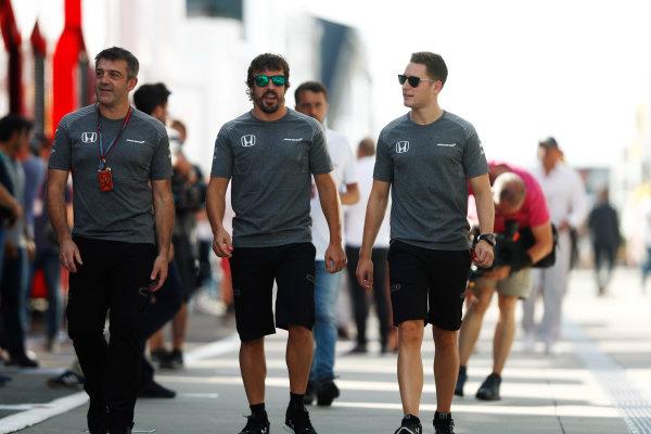 Hungaroring, Budapest, Hungary.  Friday 28 July 2017. Fernando Alonso, McLaren, and Stoffel Vandoorne, McLaren. World Copyright: Glenn Dunbar/LAT Images  ref: Digital Image _31I8727