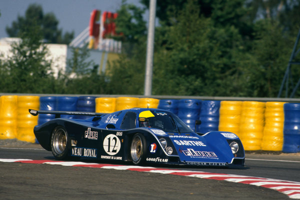 Le Mans, France. 10th - 11th June 1989.Patrick Gonin/Bernard de Dryver/Bernard Santal (Cougar C22LM Porsche), retired, action. World Copyright: LAT Photographic.Ref: 89LM47