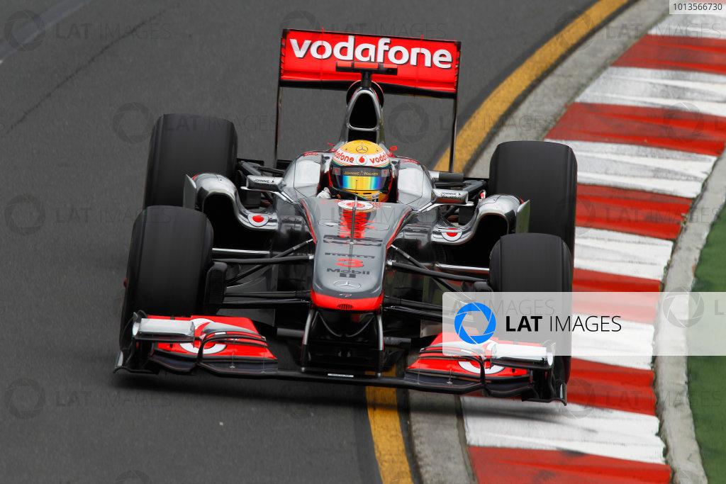 Albert Park, Melbourne, Australia 25th March 2011. Lewis Hamilton, McLaren MP4-26 Mercedes. Action.  World Copyright: Andrew Ferraro/LAT Photographic ref: Digital Image _Q0C8044