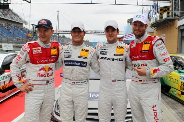 The top four after the qualifying (l-r) Mattias Ekstrom (SWE), Audi Sport Team Abt Sportsline (3rd), Bruno Spengler (CDN), Mercedes-Benz Bank AMG (Pole Position), Jamie Green (GBR), AMG Mercedes (2nd) and Martin Tomczyk (GER), Audi Sport Team Phoenix (4th) .
