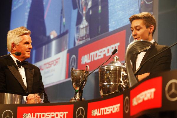 2014 Autosport Awards. Grosvenor House Hotel, Park Lane, London. Sunday 7 December 2014. George Russell wins the 2014 McLaren AUTOSPORT BRDC Award. World Copyright: Alastair Staley/LAT Photographic. ref: Digital Image _R6T9854