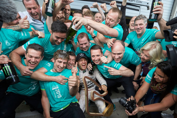 Red Bull Ring, Spielberg, Austria. Sunday 21 June 2015. Nico Rosberg, Mercedes AMG, 1st Position, celebrates with his team. World Copyright: Steve Etherington/LAT Photographic. ref: Digital Image SNE25030