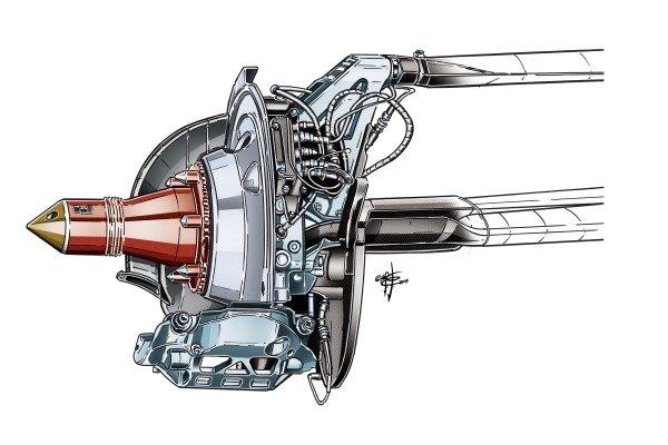 Sauber C33 rear brake detail, note smaller caliper (4 piston, rather 6)