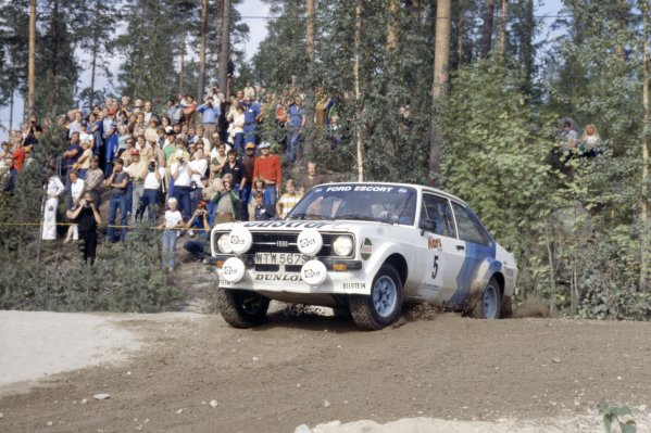 1979 World Rally Championship. 1000 Lakes Rally, Finland. 24-28 August 1979. Bjorn Waldegaard/Hans Thorszelius (Ford Escort RS1800).World Copyright: LAT PhotographicRef: 35mm transparency 79RALLY16