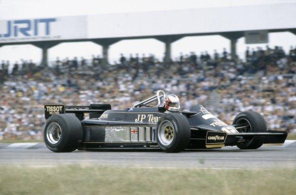 1981 German Grand Prix.Hockenheim, Germany. 31 July-2 August 1981.Nigel Mansell (Lotus 87-Ford Cosworth), retired.World Copyright: LAT PhotographicRef: 35mm transparency 81GER20
