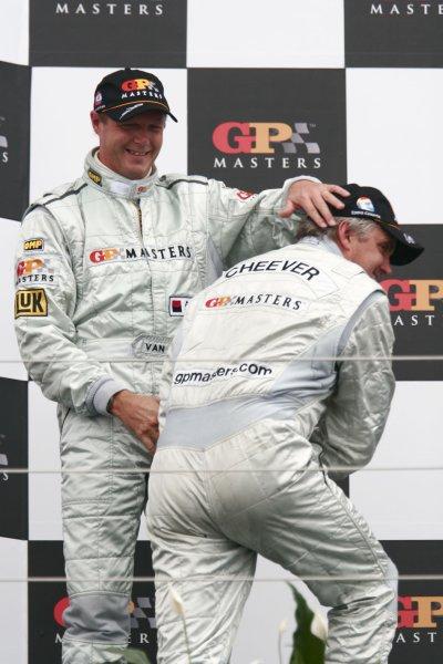 2006 Grand Prix Masters.Silverstone, England. 11th - 13th August.Eddie Cheever with Eric Van De Poele on the podium. Portrait.World Copyright: Drew Gibson/LAT Photographic.Ref: Digital Image Only.