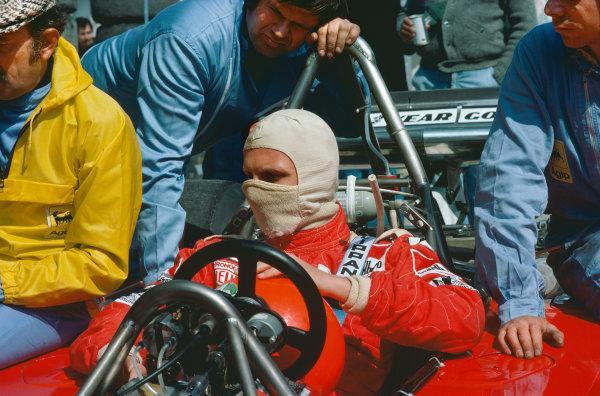 Zolder, Belgium. 14th - 16th May 1976. Niki Lauda (Ferrari 312T2), 1st position, portrait.  World Copyright: LAT Photographic.  Ref: 76 BEL 28.
