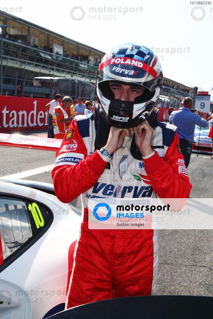 Kuba Giermaziak (POL) Verva Racing Team on the grid. Porsche Supercup, Rd 9, Monza, Italy, 10-12 September 2010.
