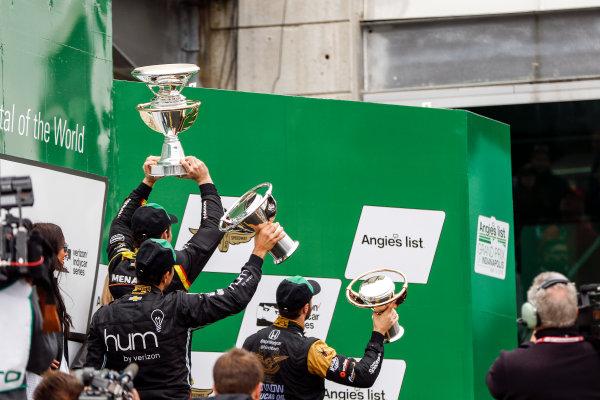 12-14 May, 2016, Indianapolis, Indiana, USA Simon Pagenaud, Helio Castroneves, James Hinchcliffe on the podium  ?2016, Sam Cobb LAT Photo USA