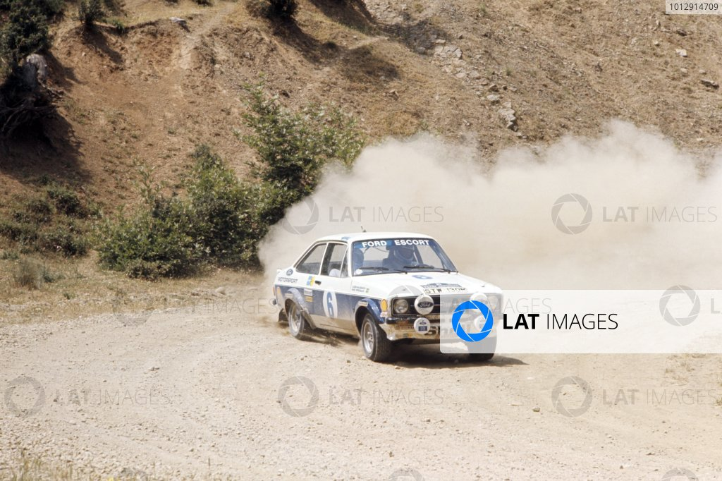 1977 World Rally Championship.Acropolis Rally, Greece. 28 May-1 June 1977.Bjorn Waldegaard/Hans Thorszelius (Ford Escort RS1800), 1st position.World Copyright: LAT PhotographicRef: 35mm transparency 77RALLY13