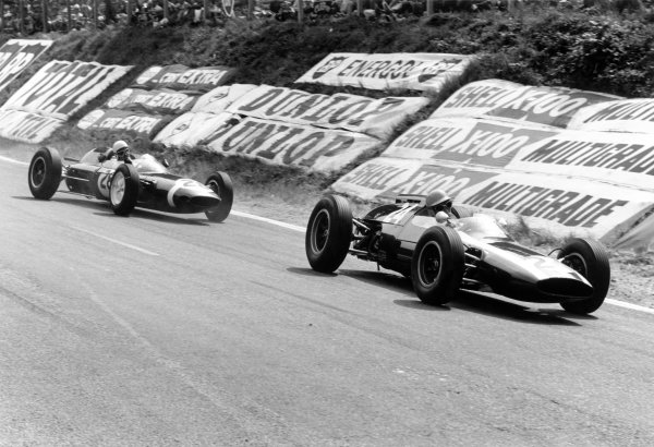 1962 French Grand Prix Rouen-les-Essarts, France. 6-8 July 1962 Tony Maggs (Cooper T60-Climax) leads Maurice Trintignant (Lotus 24-Climax). They finished in 2nd and 7th position respectively World Copyright: LAT PhotographicRef: Autosport b&w print