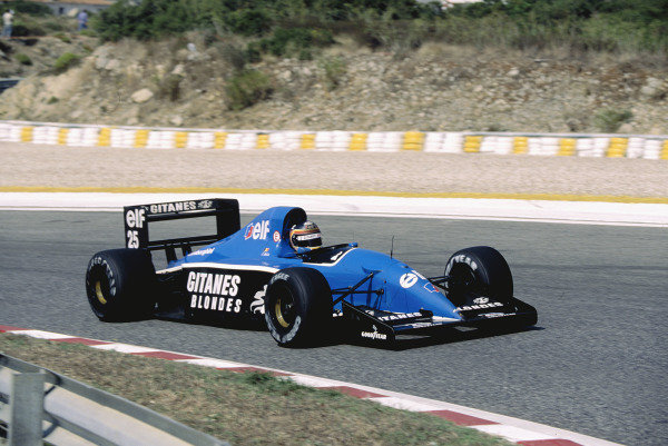 1991 Portuguese Grand Prix.Estoril, Portugal.20-22 September 1991.Thierry Boutsen ( Ligier JS35B Lamborghini).Ref-91 POR 19.World Copyright - LAT Photographic