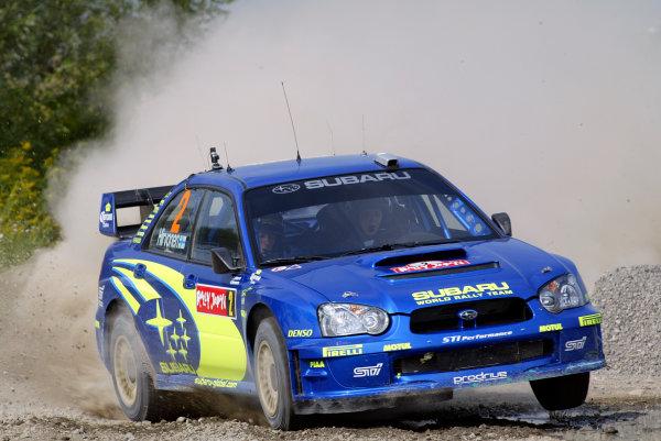 2004 FIA World Rally Champs. Round eleven, Rally Japan.2nd-5th September 2004.Mikko Hirvonen, Subaru, action.World Copyright: McKlein/LAT