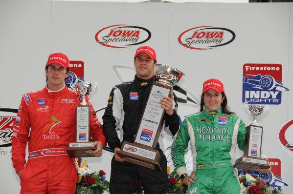 21-22 June, 2008, Newton, Iowa USAArie Luyendyk Jr , 2nd, Dillon Battastini, winner, and Ana Beatriz, second, in the Iowa Indy Lights race.©2008, Paul Webb, USALAT Photographic