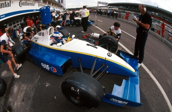 Race winner Olivier Panis (FRA) Reynard 93D Cosworth AC has his car worked on in the pits.International Formula 3000 Championship, Hockenheim, Germany, 24 July 1993.