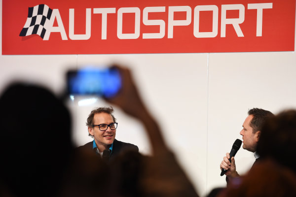 Autosport International Exhibition. National Exhibition Centre, Birmingham, UK. Sunday 15 January 2017. Jacques Villeneuve talks to Henry Hope-Frost. World Copyright: Sam Bagnall/LAT Images Ref: DSC_5572