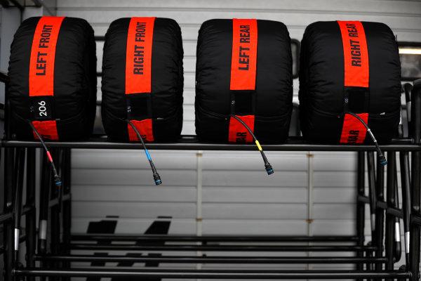Shanghai International Circuit, Shanghai, China.  Thursday 06 April 2017. Pirelli tyres in their warmers on a rack. World Copyright: Glenn Dunbar/LAT Images ref: Digital Image _X4I4803